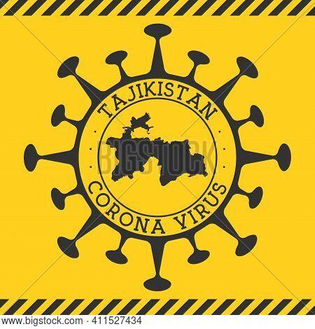 Corona Virus In Tajikistan Sign. Round Badge With Shape Of Virus And Tajikistan Map. Yellow Country