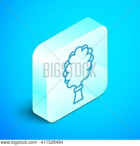 Isometric Line Sauna Broom Icon Isolated On Blue Background. Broom From Birch Twigs, Branches For Ru