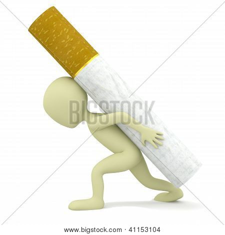 3D Small Person Carries A Heavy Cigarette.