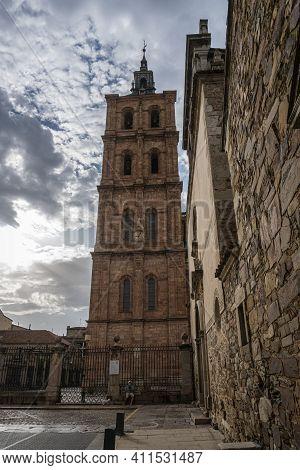 Astorga, Spain, July 2020 - Saint Maria Cathedral Belfry In The City Of Astorga, Spain