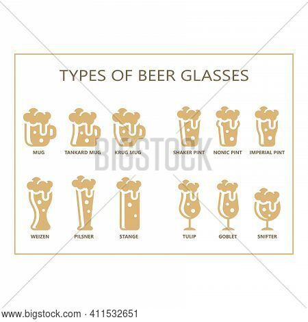 Beer Glasses Types Guide Vector. Mug, Pint, Pilsner Glass Vector Icon Set.