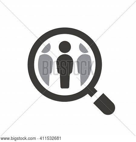 Employee Recruitment Symbol With Loupe. Magnifying Glass With People Search Vector Icon.