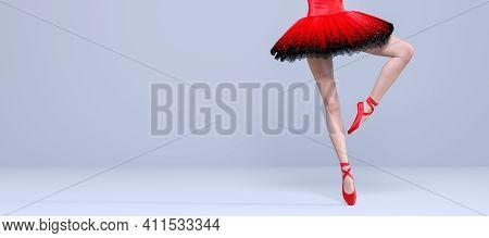 3d Ballerina Legs Light Classic Pointe Shoes And Ballet Tutu. Dancing Woman. Ballet Dancer. Studio P