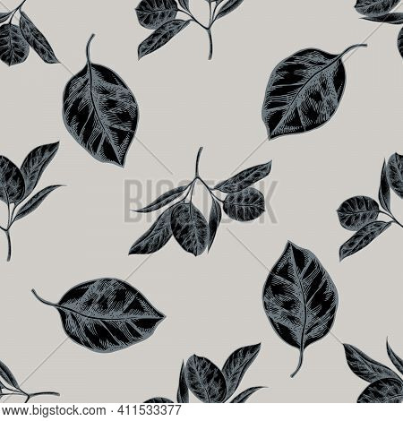 Seamless Pattern With Hand Drawn Stylized Ficus Stock Illustration
