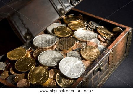 Treasure Chest With Gold And Silver