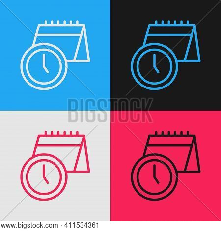 Pop Art Line Calendar And Clock Icon Isolated On Color Background. Schedule, Appointment, Organizer,