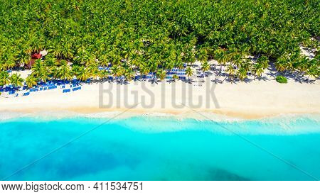 Paradise Tropical Island Nature Background. Top Aerial Drone View Of Beautiful Beach With Turquoise