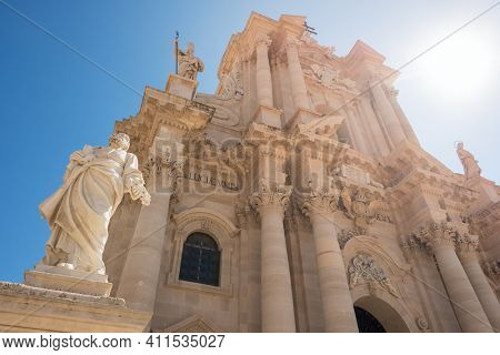 The Duomo Cathedral of Ortigia in Siracusa close-up at sunny day. Ortygia, Syracuse in Sicily, Italy