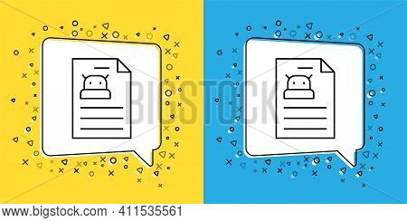 Set Line Technical Specification Icon Isolated On Yellow And Blue Background. Technical Support Chec