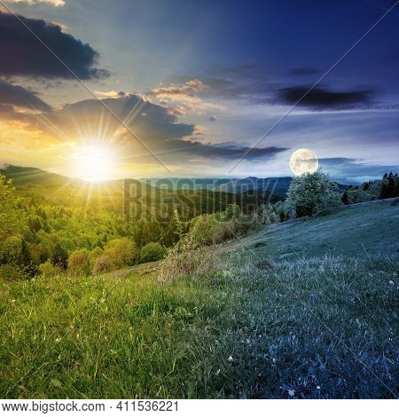 Day And Night Equinox Time Change Concept Above Mountainous Countryside Scenery In Spring. Trees And