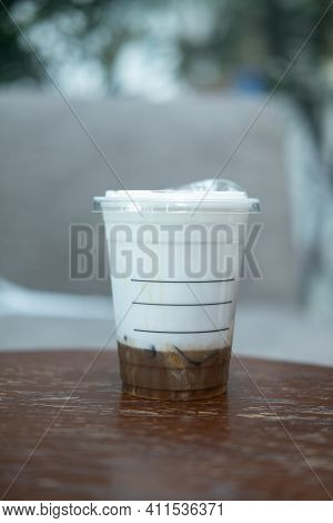 Bangkok, Thailand - March 8, 2021: New Beverage For Starbucks Coffee Shop, Iced Salted Caramel Cloud