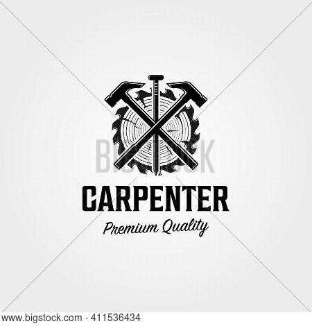 Carpenter Shop Logo Vintage Vector Symbol Illustration Design , Woodworking Hammer And Nail Steel Sy