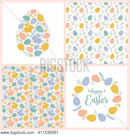 Vector Happy Easter Templates And Seamless Patterns. Suitable For Spring Easter Cards And Invitation