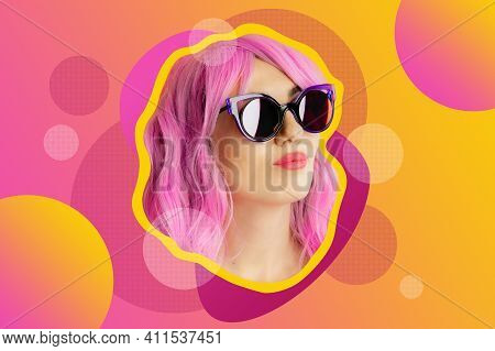 Funky Woman In Sunglasses. Crazy Lady And Surreal Composition Of Textures, Shapes, Gradients. Contem