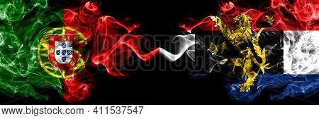 Portugal, Portuguese Vs Benelux Smoky Mystic Flags Placed Side By Side. Thick Colored Silky Abstract