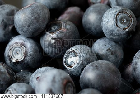 Delicious Ripe Blueberries. Juicy Blueberries. Healthy Blueberries. Blueberry Closeup.