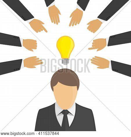 Business Hands Stealing Idea Light Bulb. Hands Stealing Concept From Businessman. Thief Stealing Ide