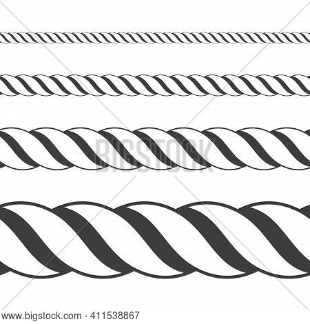 Different Twine Black Thickness Rope. Vector Set Of Ropes Different Sizes. Rope Seamless Pattern. To