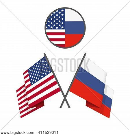 American And Russian Crossed Flags. Vector Illustration Of Two Flags - United States Of America Usa