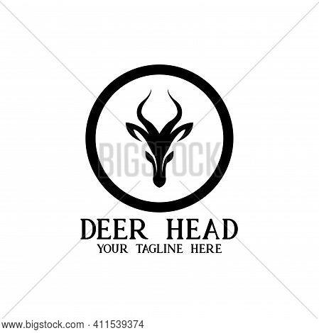 Head Deer Circle Design Logo Vector. Head Deer Animal Design Vector