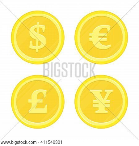 World Currency Icons Dollar, Euro, Yen And Pound Sterling. Currency Gold Coins. Business, Finance Or