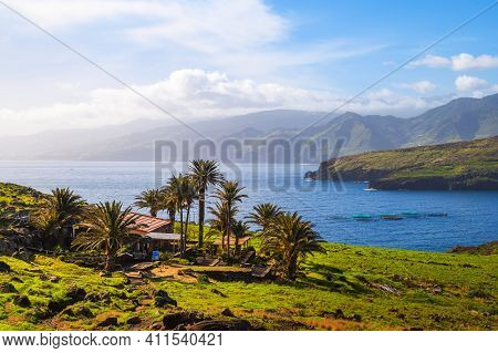 Canical, Madeira, Portugal - January 20, 2021 : The Center Reception House Sardinha Located At A Hik