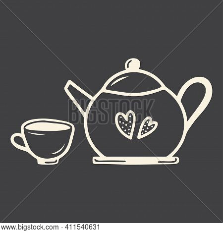 Set Of Two Elements Hand Drawn Teapot And Teacups Isolated On A Dark Background. Doodle, Simple Outl