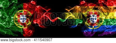 Portugal, Portuguese Vs Portugal, Portuguese, Gay, Pride  Smoky Mystic Flags Placed Side By Side. Th