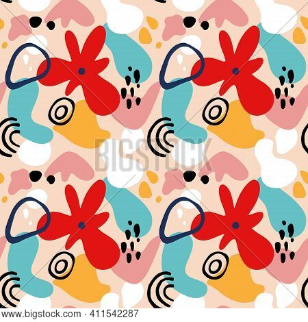 Abstract Flower Seamless Pattern With Geometric Shapes, Spots And Tropic Motifs. Repeat Graphic Prin