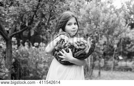 I Love You. Small Girl Hold Cute Cat In Hands. Kid Love Her Pet. Human And Animals. Love And Care. F
