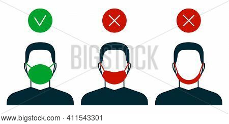 Right And Wrong Way To Wear Face Mask, Man Icon. Correct And Mistakes Use Wearing Mask. Face Mask Fo