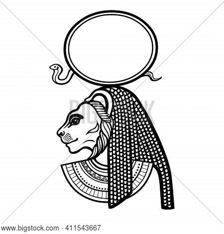 Animation Portrait Ancient Egyptian Goddess With Head Of  Lioness,  Disk Of  Sun. Tefnut, Sehmet, Ba