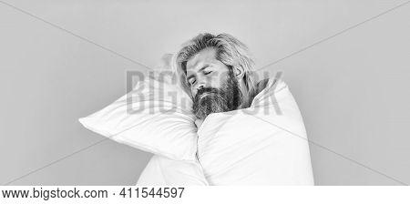 Melatonin Makes You Feel Drowsy And Helps You Stay Asleep. Fall Asleep On Go. Man Handsome Guy With