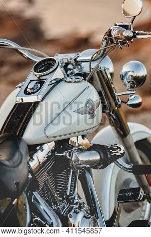 Lodz, Poland - September 23, 2020: Harley-davidson Fat Boy, Motorcycle Detail.