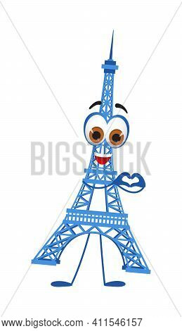 Funny Travel Objects Collection: Funny Eiffel Tower On White Background, Flat Design Vector Illustra