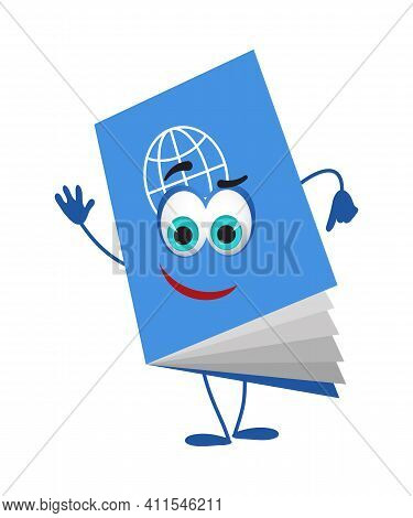Funny Travel Objects Collection: Funny Passport On White Background, Flat Design Vector Illustration