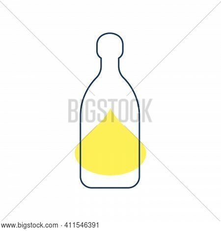 Modern Abstract Illustration With Bottle Tequila With Yellow Blob. Linear Outline Sign. Logo Illustr