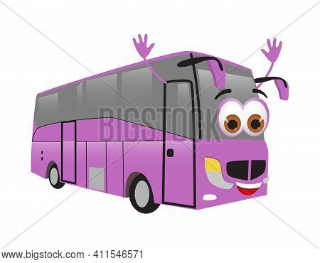 Funny Travel Objects Collection: Funny Travel Bus On White Background, Flat Design Vector Illustrati
