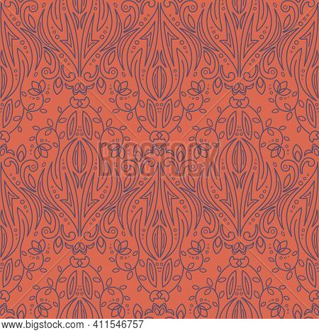 Seamless Texture With Filigree Arabic Ornament. Vector Vintage Pattern. Oriental Design For Textile