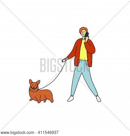 Red Hair Man Speaks On Phone And Walks Dog. Pretty Guy Holds Phone And Leads Dog On Leash. Male Walk
