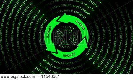 Update Lettering On Update Sign In Center Of Binary Code Circles - Graphic Elements In Green On Blac