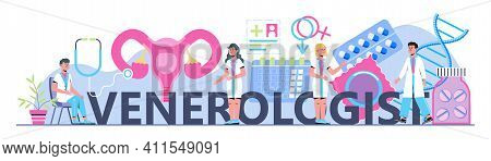 Venereology Concept Header Vector For Health Care Landing Page. Venereal Diseases, Treatment Of Gono