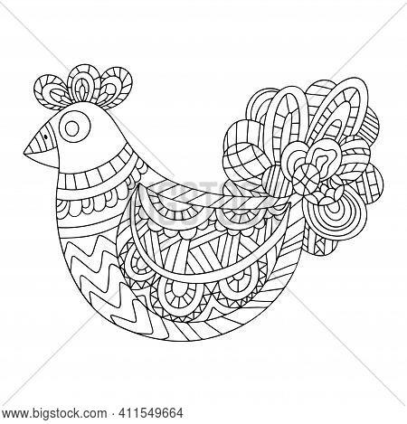 Happy Easter Chicken Zen Art Stock Vector Illustration. Funny Farm Bird Ornamental Coloring Page For
