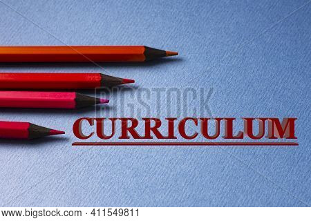 Curriculum - Word On Gray Paper With Red Pencils Lying Next To. Finance And Education Concept