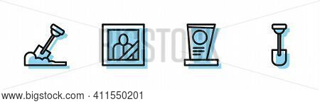 Set Line Grave With Tombstone, Shovel In The Ground, Mourning Photo Frame And Icon. Vector