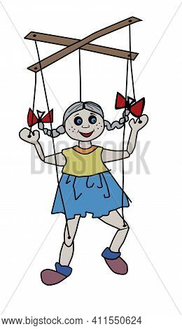 Puppet Girl On Ropes With Control Sticks