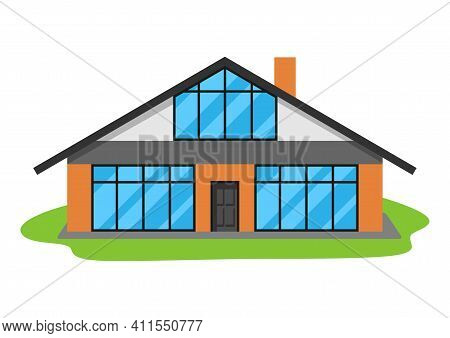 Illustration Of Facade Of Modern Luxury House. Real Estate Country Cottage.