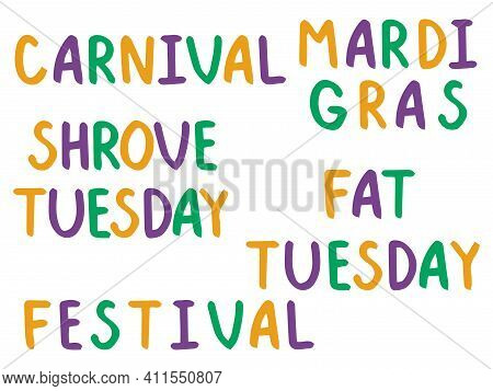 Mardi Gras Colorful Lettering White Isolated Stock Vector Illustration. Funny Hand Written Font Word