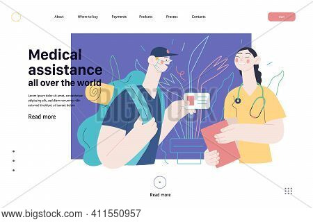 Medical Insurance Web Page Template -medical Assistance All Over The World -modern Flat Vector Conce