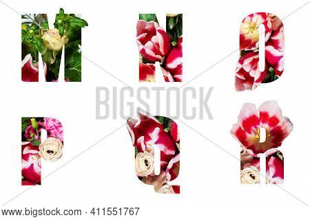 Floral Letters. The Letters M, N, O, P,q, R Are Made From Colorful Flower Photos. A Collection Of Wo